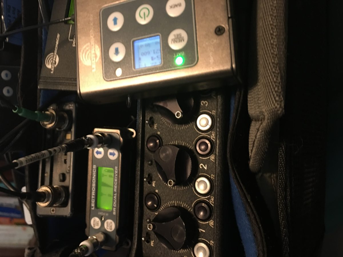 Wireless microphones for work on feature film.